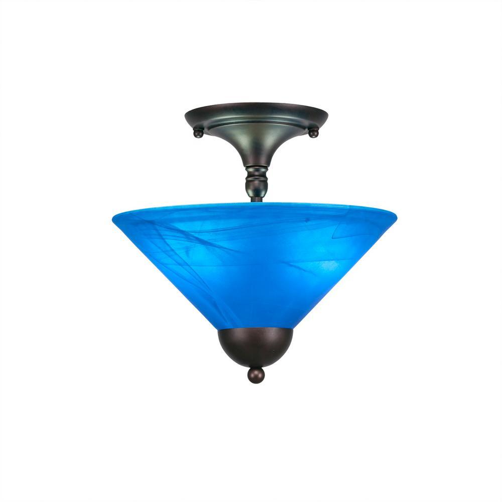 2-Light Bronze Semi-Flushmount