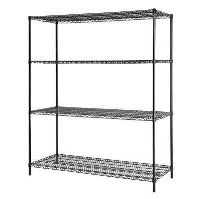 60 in. W x 72 in. H x 24 in. D All Purpose Heavy Duty 4-Tier Wire Shelving, Black