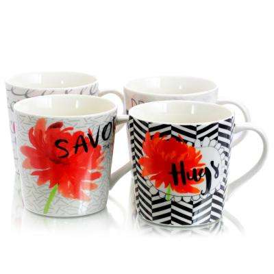 Wild Floral 17 oz. Assorted Designs Cup (Set of 4)