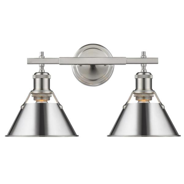 Orwell 4.875 in. 2-Light Pewter Vanity Light with Chrome Shade