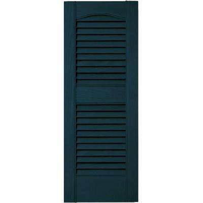 12 in. x 31 in. Louvered Vinyl Exterior Shutters Pair in #166 Midnight Blue