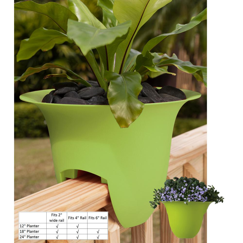 18 x 11 Honey Dew Modica Plastic Deck Rail Planter