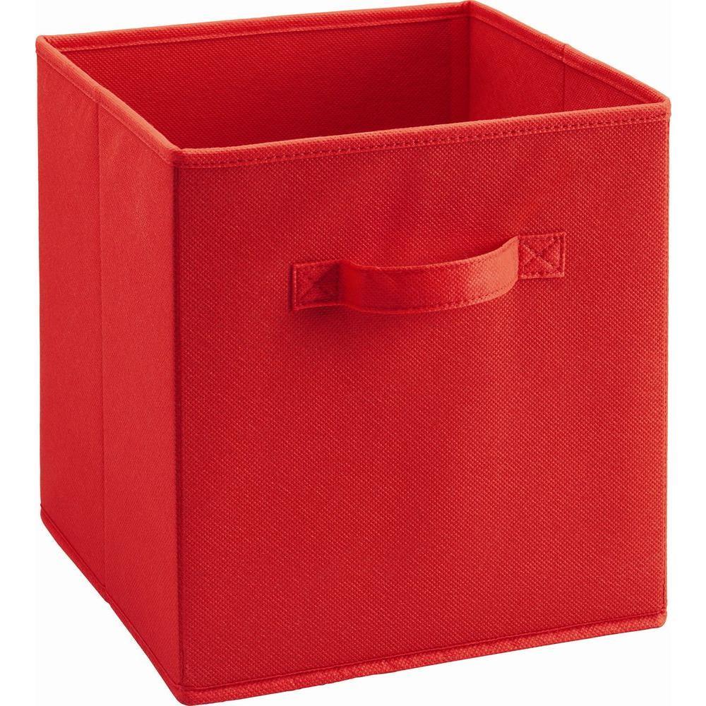 10.5 in. x 11 in. x 10.5 in. 5.25 gal. Red Fabric Storage Bin