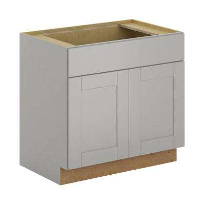 Princeton Shaker Assembled 36x34.5x24 in. Sink Base Cabinet in Warm Gray