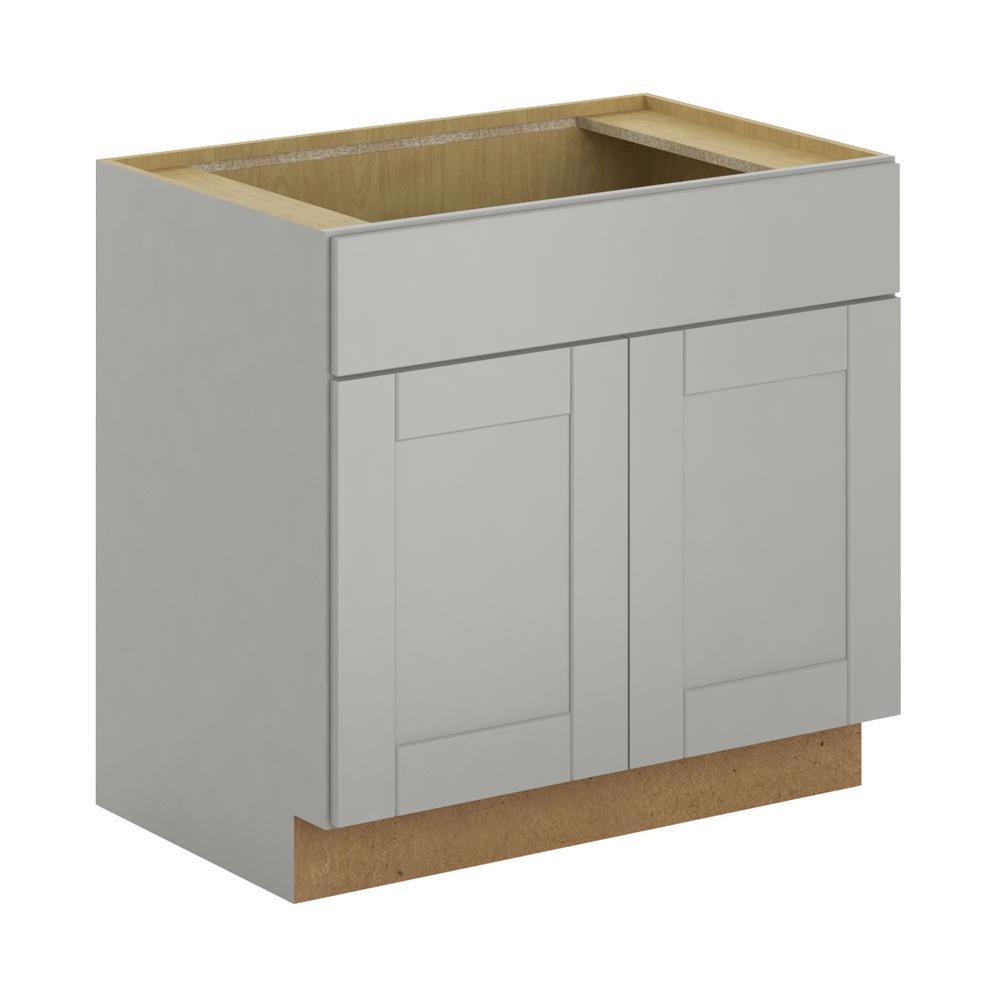 Hampton Bay Princeton Shaker Assembled 36x34.5x24 in. Sink Base Cabinet in Warm Gray