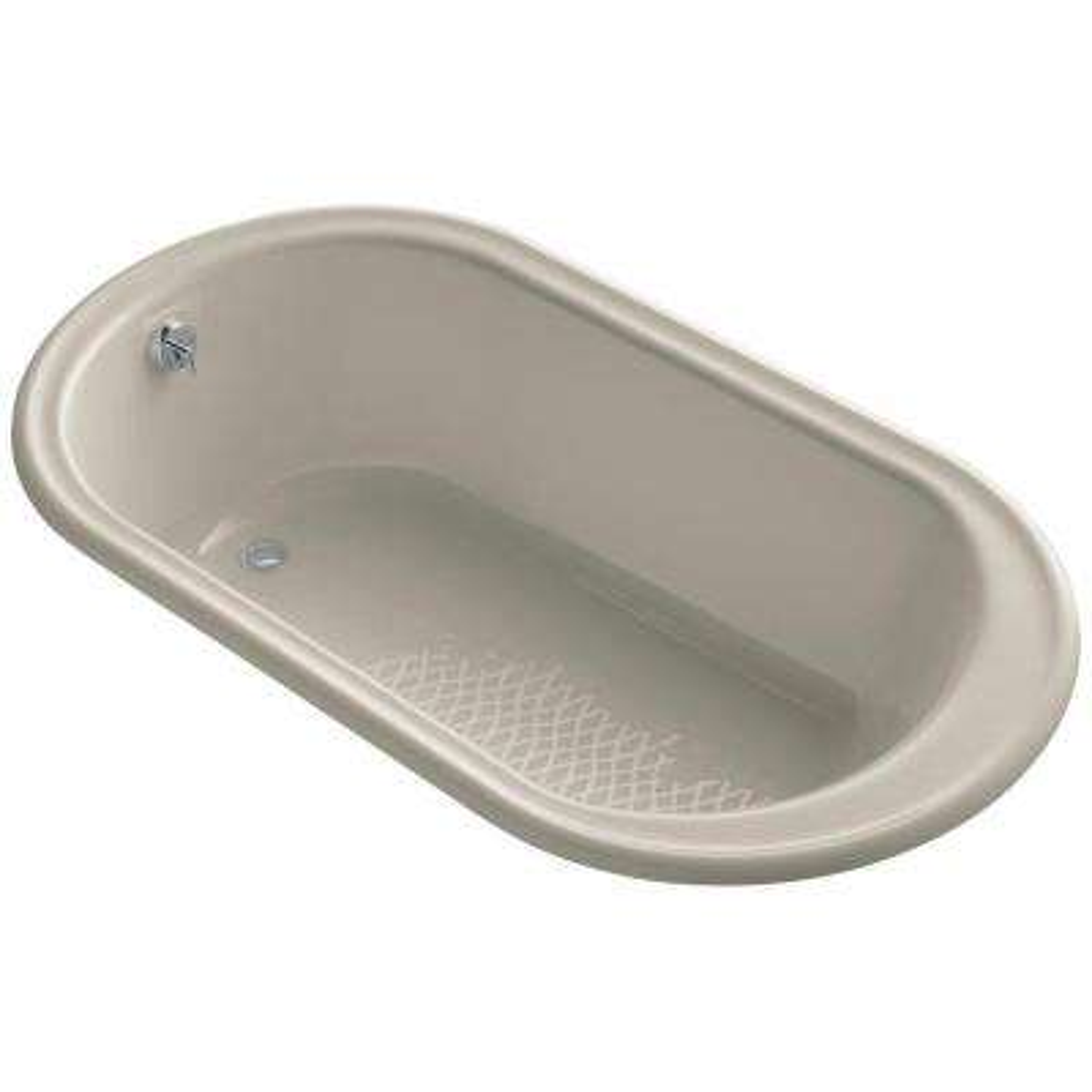 Iron Works 5.5 ft. Oval Rectangular Drop-in Reversible Drain Soaking Tub in Sandbar