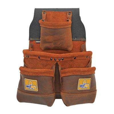11 in. 4-Pocket Elite Series Tool Pouch with Side-by-Side Front Pockets in Brown