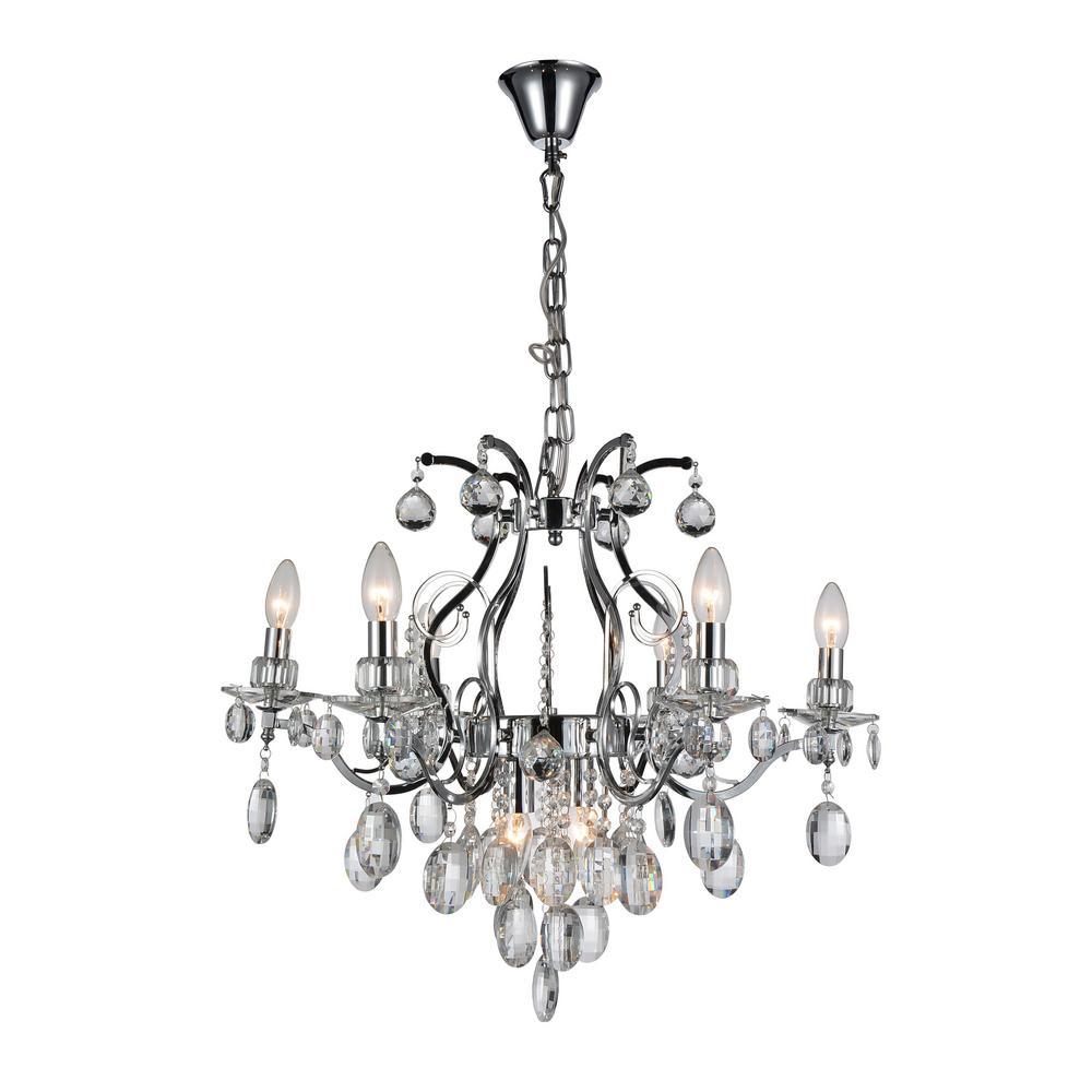 Minoan 8-light chrome chandelier