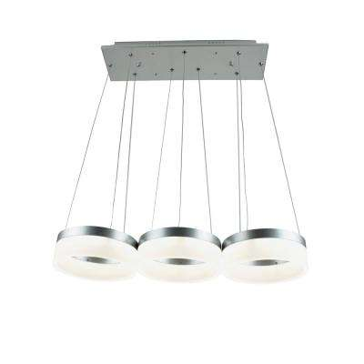 Yatziri 28-Watt Silver Integrated LED Pendant Cluster 3-Lights