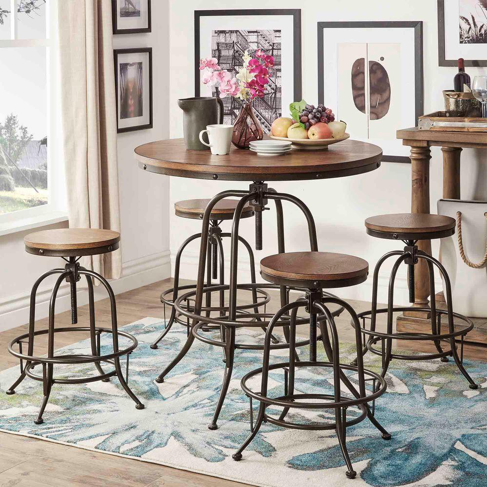 8407 Kitchen Bar: HomeSullivan Olson 5-Piece Brown Bar Table Set-405429