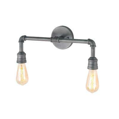 2-Light Aged Silver Bathroom Vanity Light