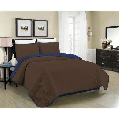 Reversible Austin 3-Piece Brown and Navy King Quilt Set