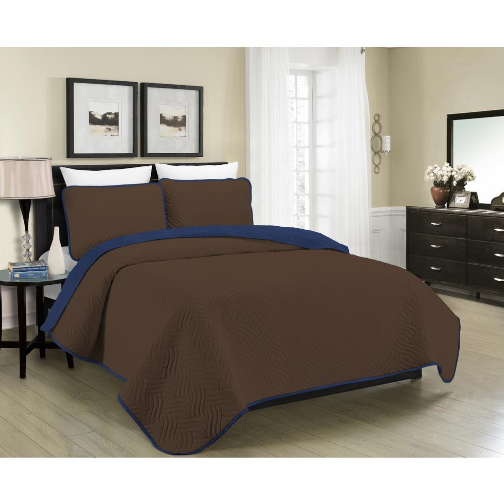 Blissful Living Reversible Austin 2 Piece Brown And Navy Twin Quilt Set