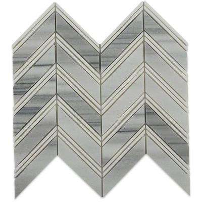 Royal Herringbone Cipolino and Thassos Strips Polished Marble Floor and Wall Tile - 3 in. x 6 in. Tile Sample
