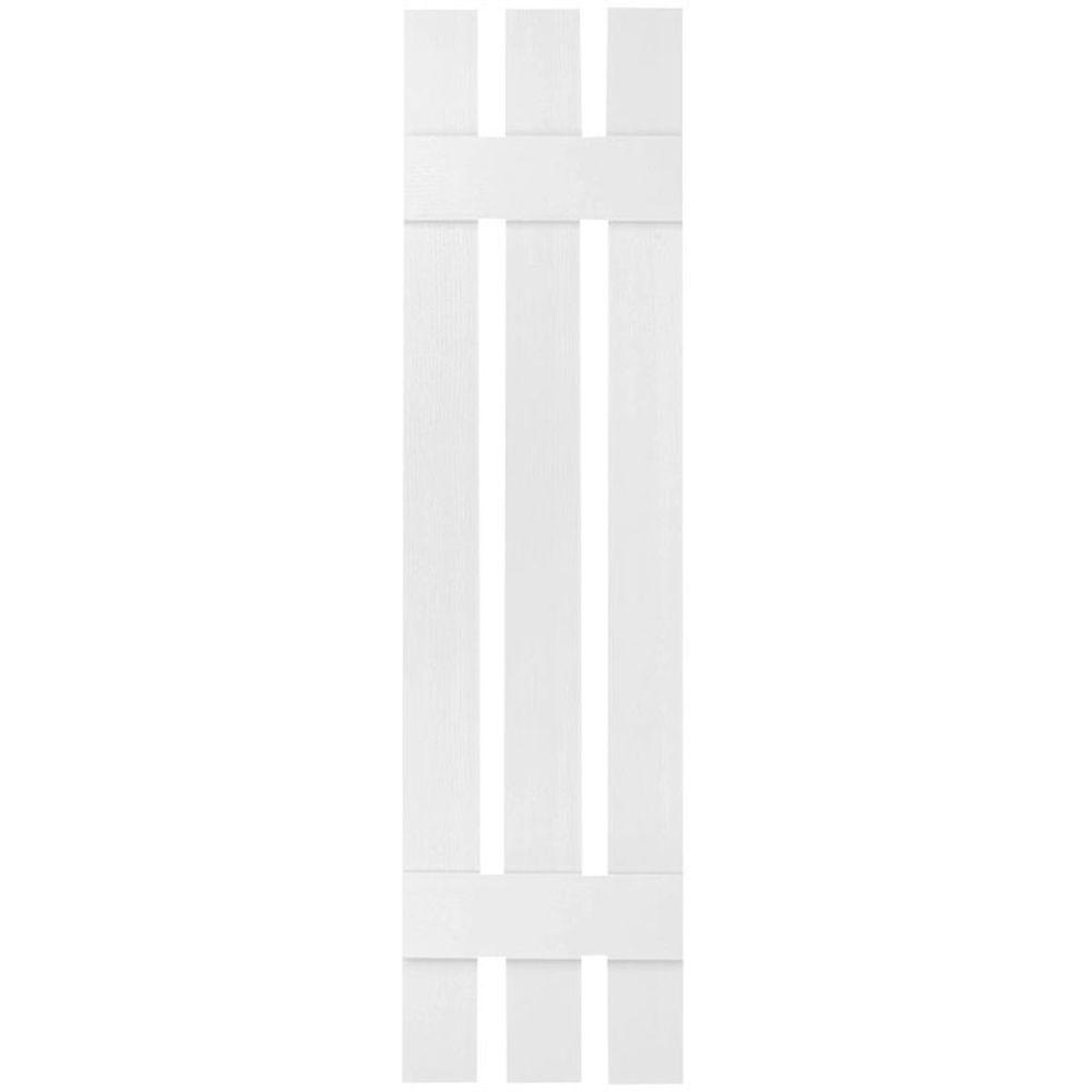 Ekena Millwork 12 In X 39 In Lifetime Vinyl Custom Three Board Spaced Board And Batten Shutters Pair Bright White Ls3c12x03900bw The Home Depot