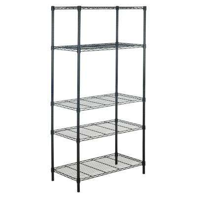 Etta 71.6 in. Black 5-Shelf Wire Rack