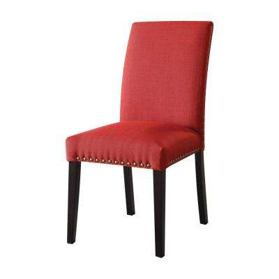 Gregory Red Linen Side Chair