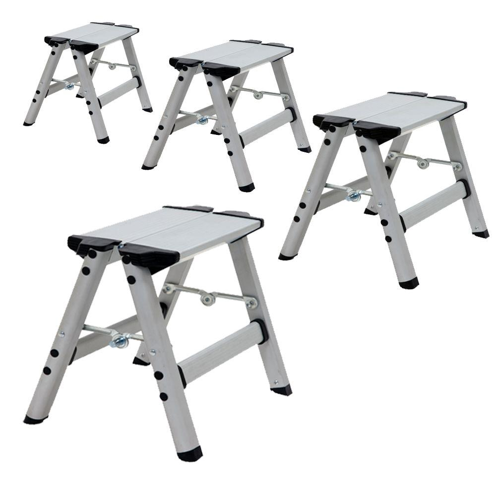 Xtend and Climb Ultra 1 ft. Light Weight Aluminum Single Step Stool Compact Folding Step Stool Type II 225 lb. Duty Rating 4-Pack
