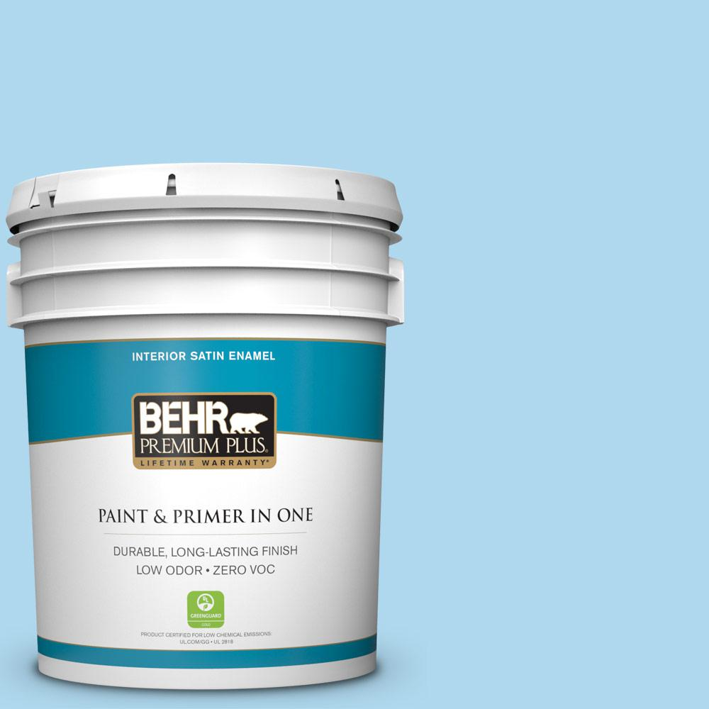 5-gal. #540A-3 Blue Feather Zero VOC Satin Enamel Interior Paint