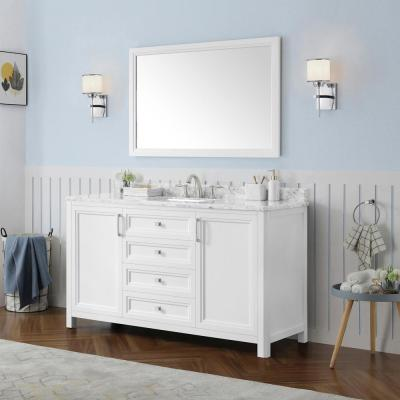 Sandon 60 in. W x 22 in. D Bath Vanity in White with Marble Vanity Top in Carrara White with White Basin