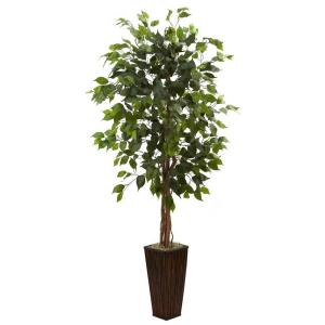 Nearly Natural 5 5 Ft Ficus Tree With Bamboo Planter 5924
