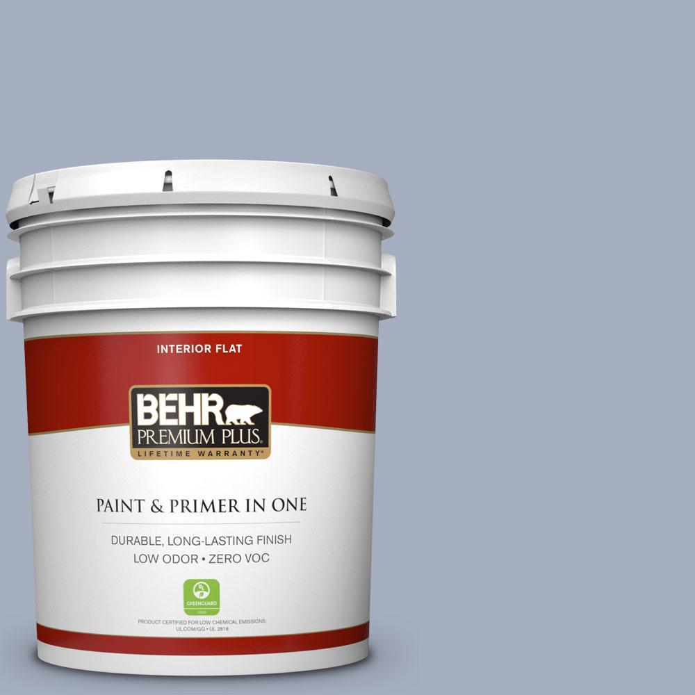BEHR Premium Plus 5-gal. #ICC-55 Hydrangea Blossom Zero VOC Flat Interior Paint