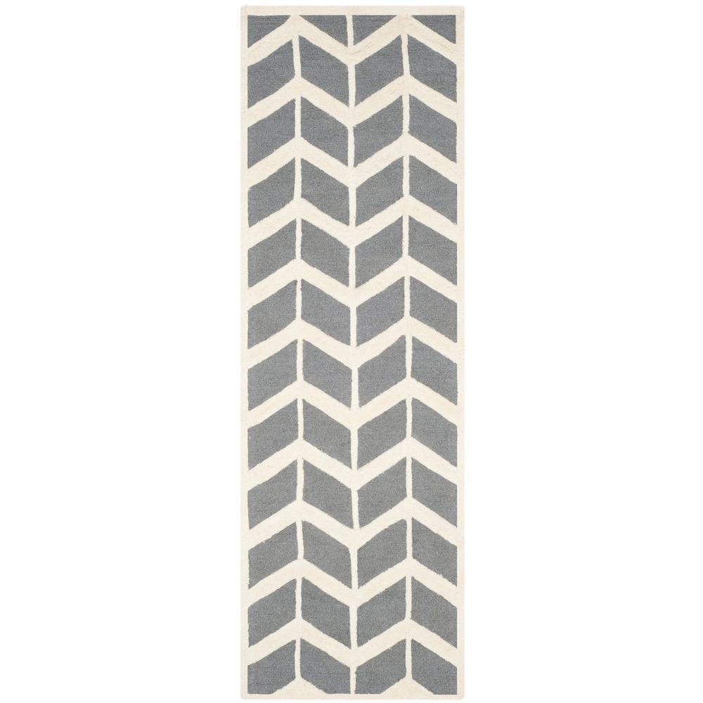 Cambridge Dark Gray/Ivory 3 ft. x 8 ft. Runner Rug