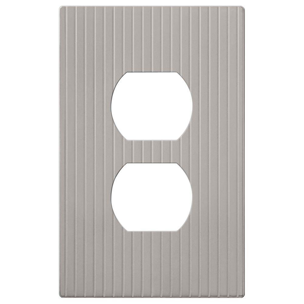 Mies 1 Gang Duplex Metal Wall Plate - Satin Nickel