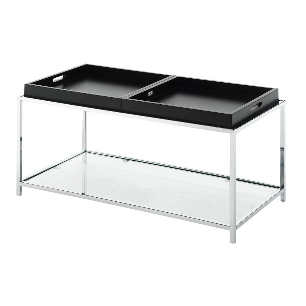 Convenience Concepts Palm Beach Black Gl Removable Tray Coffee Table