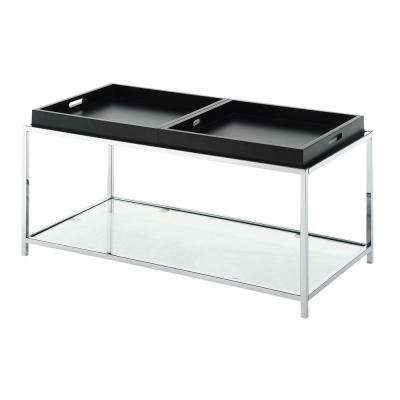 Palm Beach Black Glass Removable Tray Coffee Table