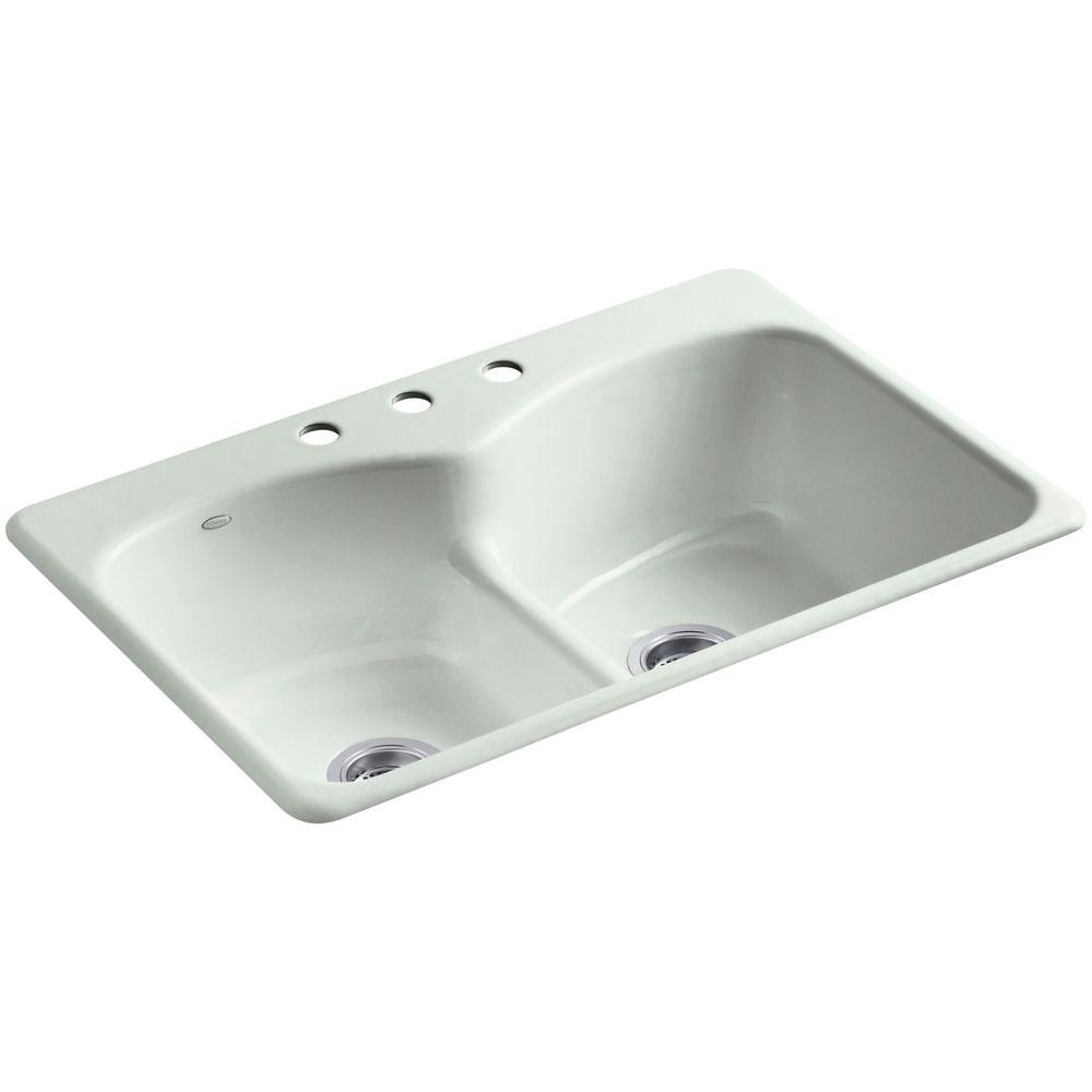 KOHLER Langlade Smart Divide Drop-In Cast-Iron 33 in. 3-Hole Double ...