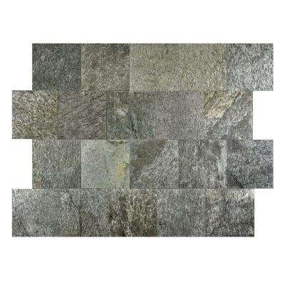 Silver Shine 6 in. x 6 in. Slate Peel and Stick Wall Tile (5 sq. ft. / pack)