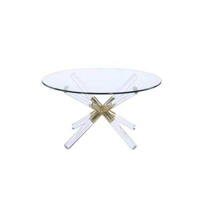 Kalani Gold, Clear Acrylic and Glass Coffee Table