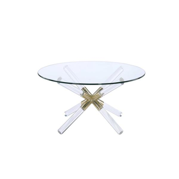 Acme Furniture Kalani 34 In Clear Gold Medium Round Glass Coffee Table 81025 The Home Depot