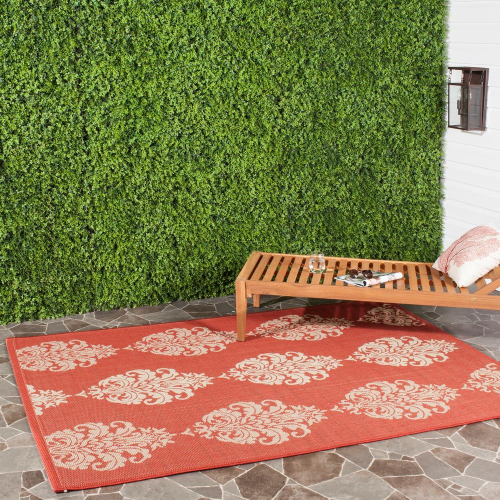 Safavieh Courtyard Red/Natural 9 ft. x 12 ft. Indoor/Outdoor Area Rug