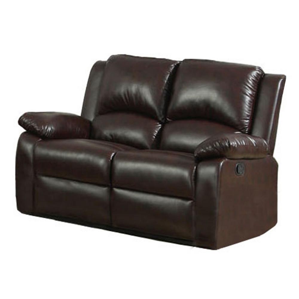 Oxford Rustic Dark Brown Leatherette Loveseat