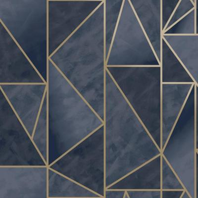 Bohemian Metallic Triangles Wallpaper Navy & Gold Paper Strippable Roll (Covers 57 sq. ft.)