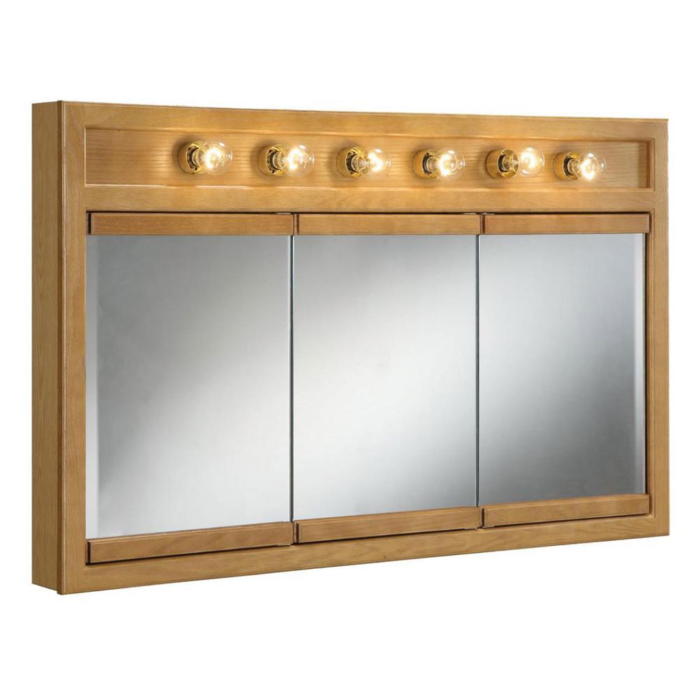 Richland 48 in. W x 30 in. H x 5 in. D Framed 6-Light Tri-View Surface-Mount Bathroom Medicine Cabinet in Nutmeg Oak