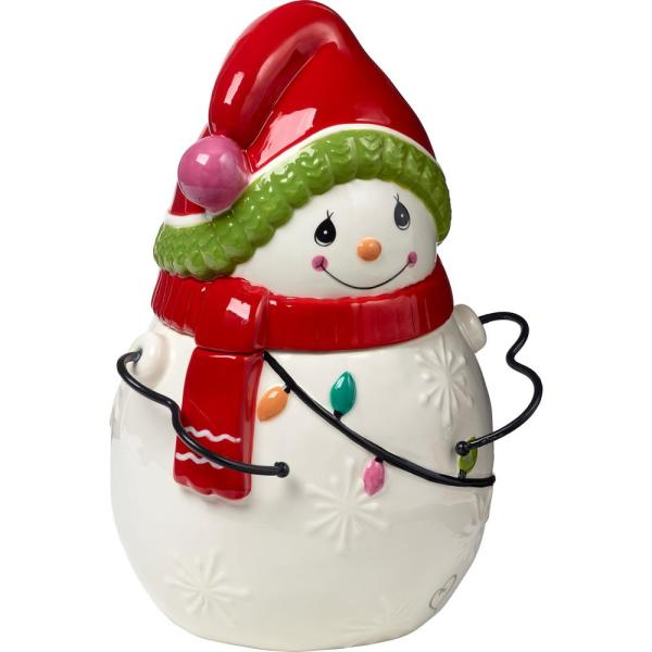 Precious Moments Be Jolly Ceramic Snowman Cookie Jar 191425 The Home Depot