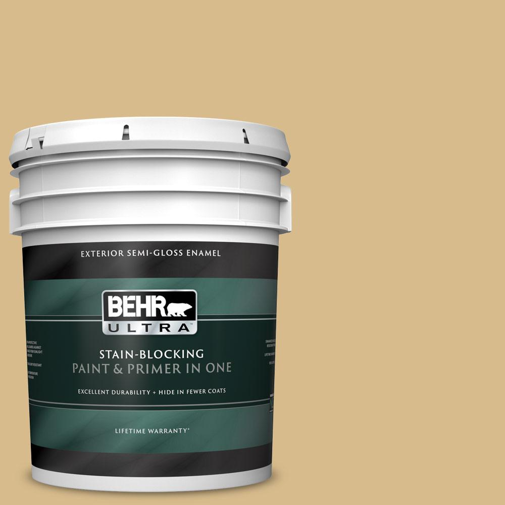 BEHR ULTRA 5 gal  #350F-5 Camel Semi-Gloss Enamel Exterior Paint and Primer  in One