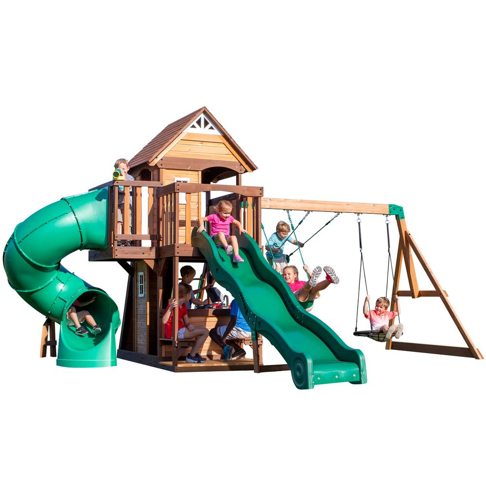 Backyard Discovery Cedar Cove All Cedar Wooden Playset 2001053com The Home Depot