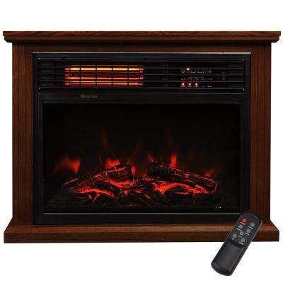 28.5 in. Freestanding Compact Infrared Quartz Electric Fireplace Heater with Remote Control in Walnut Brown