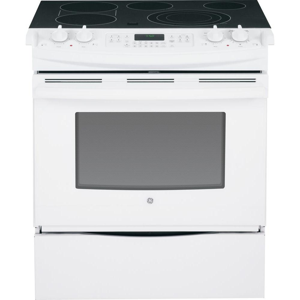 GE 4.4 cu. ft. Slide-In Electric Range with Self-Cleaning Convection Oven in White