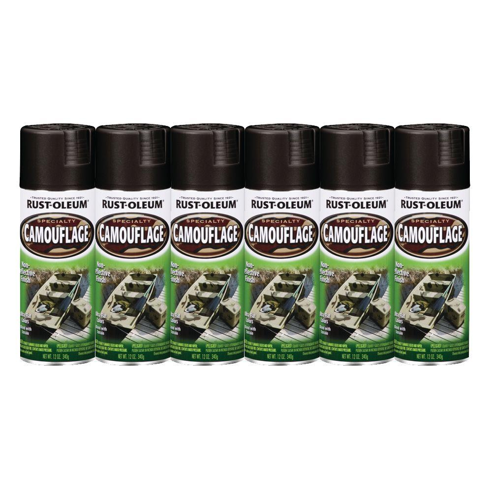 Rust-Oleum Specialty 12 oz. Flat Camouflage Black Spray Paint (6-Pack)-DISCONTINUED
