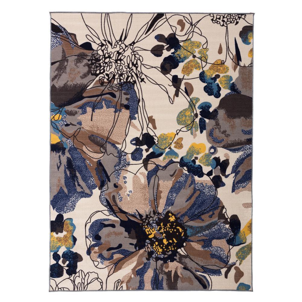 """Modern Bright Flowers Non-Slip (Non-Skid) 5'3"""" X 7'3"""" Cream Area Rug"""