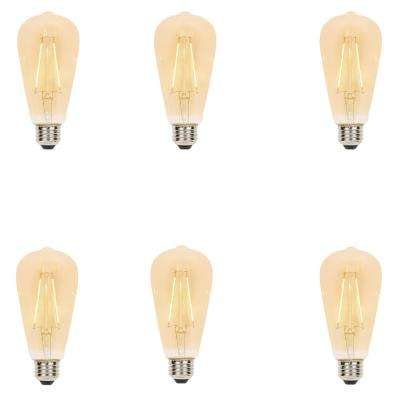 25-Watt Equivalent ST20 Dimmable Filament LED Light Bulb Warm Amber (6-Pack)