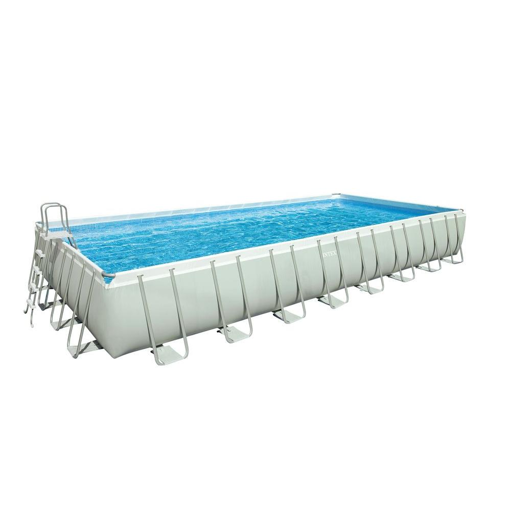 Intex 32 ft. x 16 ft. x 52 in. Rectangular Ultra Frame Pool Set with Sand and Saltwater Combo Filter