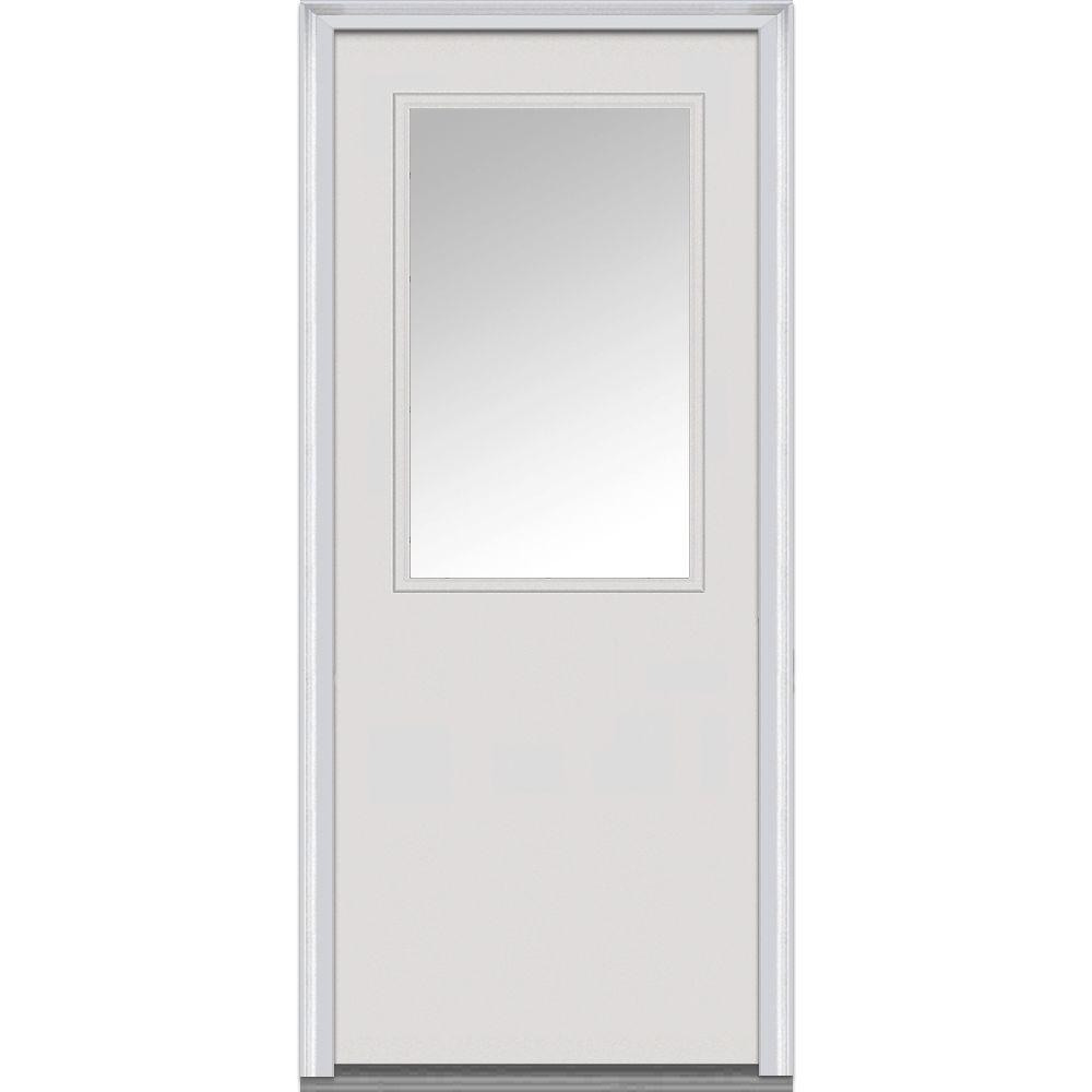 Mmi Door 32 In X 80 In Left Hand Inswing 1 2 Lite Clear Classic Flush Primed Fiberglass Smooth