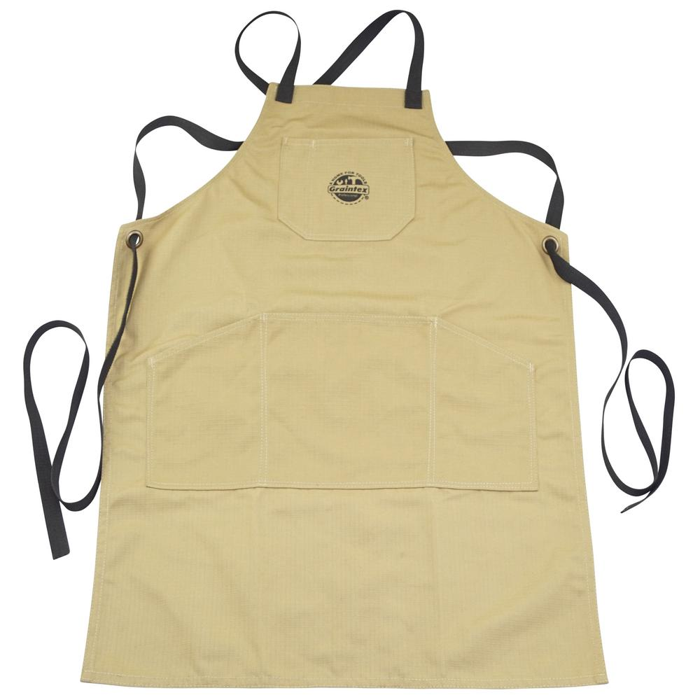 Graintex 5 Pocket Canvas Tool Work Apron In Khaki Ca2283 The Home Depot