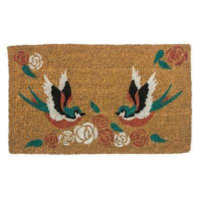 Swallows Tattoo 30 in. x 18 in. Hand Woven Coconut Fiber Door Mat